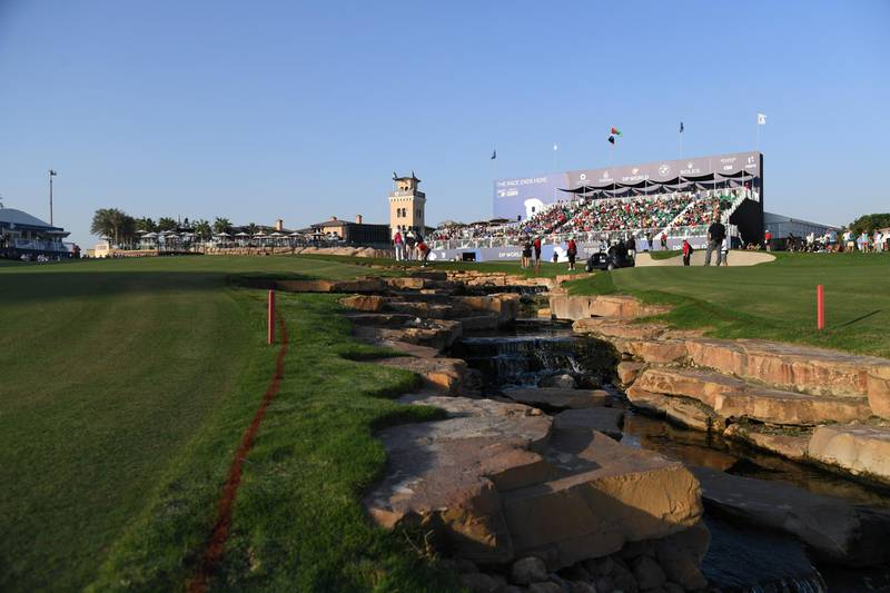 DUBAI, UNITED ARAB EMIRATES - NOVEMBER 18:  General View of the 18th hole during the third round of the DP World Tour Championship at Jumeirah Golf Estates on November 18, 2017 in Dubai, United Arab Emirates.  (Photo by Ross Kinnaird/Getty Images)