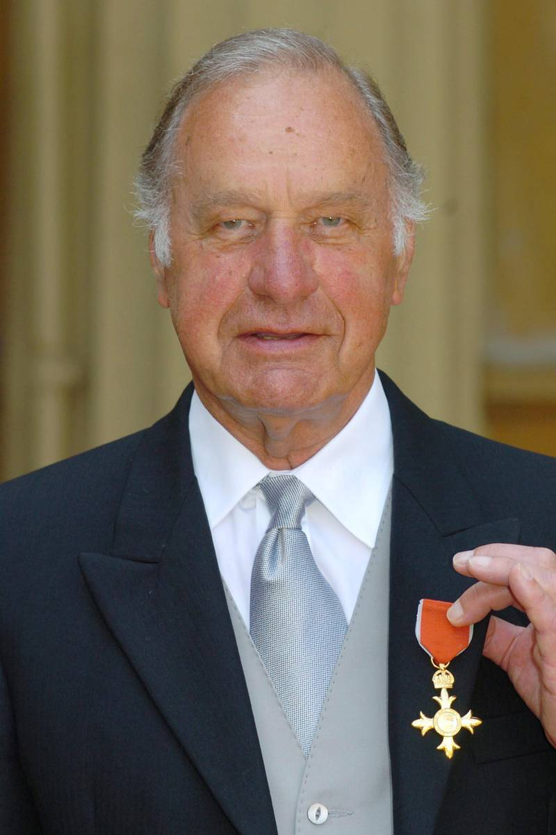 (FILES) In this file photo taken on June 22, 2005, British actor Geoffrey Palmer celebrates becoming an Officer of the Most Excellent Order of the British Empire (OBE) at Buckingham Palace in central London. - Geoffrey Palmer has died at the age of 93, agent confirmed on Friday November 6. (Photo by JOHNNY GREEN / POOL / AFP)