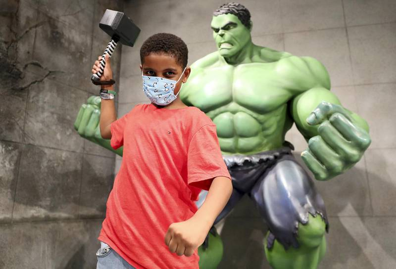 Dubai, United Arab Emirates - Reporter: N/A. Covid-19/Coronavirus. Yousef aged 8. IMG World of Adventure opened on recently to the public with strict Covid-19/Coronavirus safety measures. Tuesday, July 21st, 2020. Dubai. Chris Whiteoak / The National