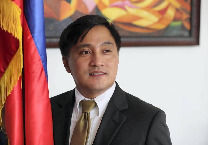 Dubai, United Arab Emirates - August 8, 2018: Paul Raymond Cortes the Philippine consulate general at an event to introduce business community leaders from the ASEAN Member Nations. Wednesday, August 8th, 2018 at Al Warqa, Dubai. Chris Whiteoak / The National