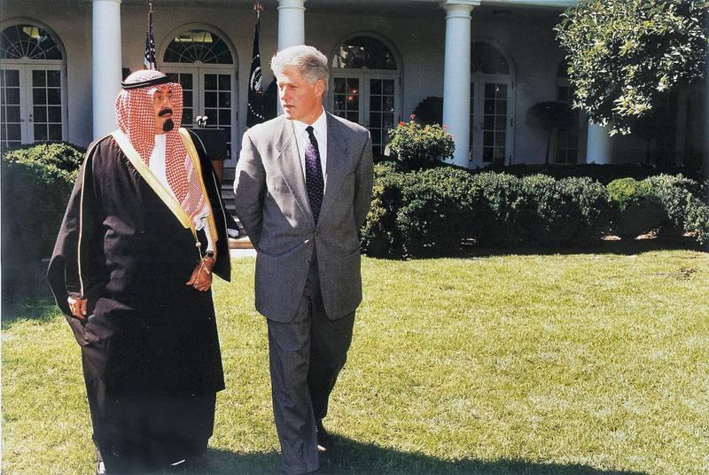 US President Bill Clinton (R) and Saudi Crown Prince Abdullah bin Abd al-Aziz Al Saud (L) walk through the Rose Garden 24 September at the White House in Washington, DC.   The Saudi Crown Prince is in Washington, DC for a three-day visit.   AFP  PHOTO        WHITE HOUSE (Photo by WHITE HOUSE / AFP)