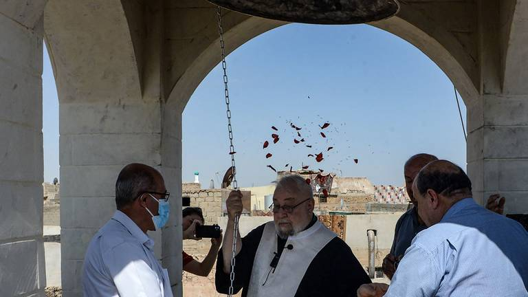 An image that illustrates this article Iraqi Christians inaugurate new bell in Mosul - in pictures