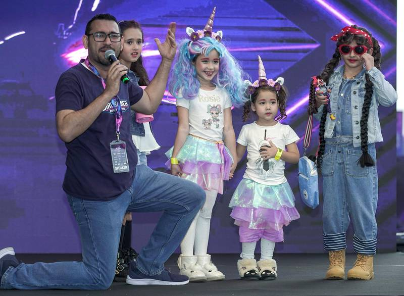 Dubai, United Arab Emirates, February 21, 2020.  Cosplay at Esports Festival World Finals at Meydan Grandstand, Dubai.  (center)  Little Girl Cosplay Grand Prize winners, The Unicorn Sisters, Rosie and Sophie.Victor Besa / The NationalSection:  WKReporter:  None