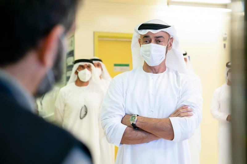 AL DHAFRA, ABU DHABI, UNITED ARAB EMIRATES - June 11, 2020: HH Sheikh Mohamed bin Zayed Al Nahyan, Crown Prince of Abu Dhabi and Deputy Supreme Commander of the UAE Armed Forces (C) inspects the Barakah Peaceful Nuclear Energy Plants, in Barakah.  ( Mohamed Al Hammadi / Ministry of Presidential Affairs ) ---