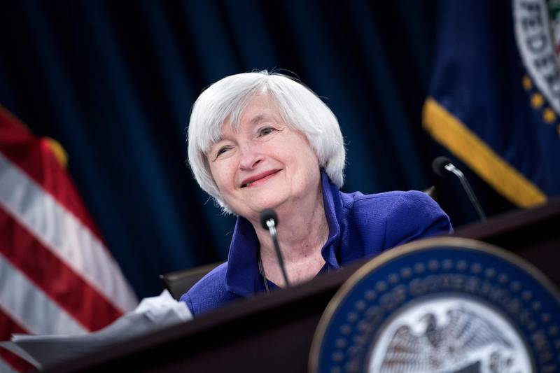 (FILES) In this file photo taken on December 13, 2017 Federal Reserve Board Chair Janet Yellen speaks during a briefing at the US Federal Reserve in Washington, DC.. President-elect Joe Biden will nominate former Federal Reserve Chair Janet Yellen to head the US Treasury, a financial source with knowledge of the incoming administration's decision said November 23, 2020. If confirmed by the Senate, the 74-year-old would make history as the first female head of the department, and be tasked with steering the world's largest economy as it struggles with mass layoffs and a sharp growth slowdown caused by the Covid-19 pandemic.  / AFP / Brendan Smialowski