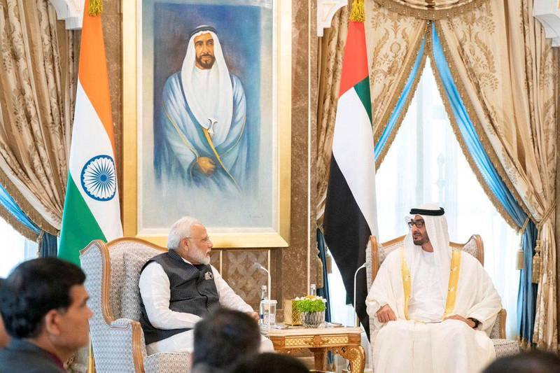 Mohamed bin Zayed holds official talks with the Indian Prime Minister on enhancing strategic ties as well as regional and international issues of mutual interest. From MBZ's twitter