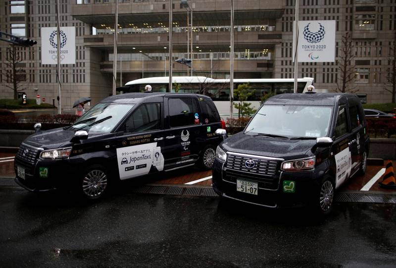 Toyota Motor Corp.'s JPN Taxi cars are parked in Tokyo, Japan March 4, 2019. Picture taken March 4, 2019.   REUTERS/Issei Kato