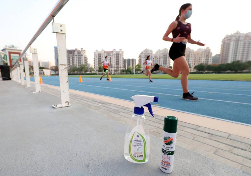 Dubai, United Arab Emirates - Reporter: N/A. Sport. Sprint training returns with Ultimate Athletics as kids go back to training in Sports City. Wednesday, June 2nd, 2020. Dubai. Chris Whiteoak / The National