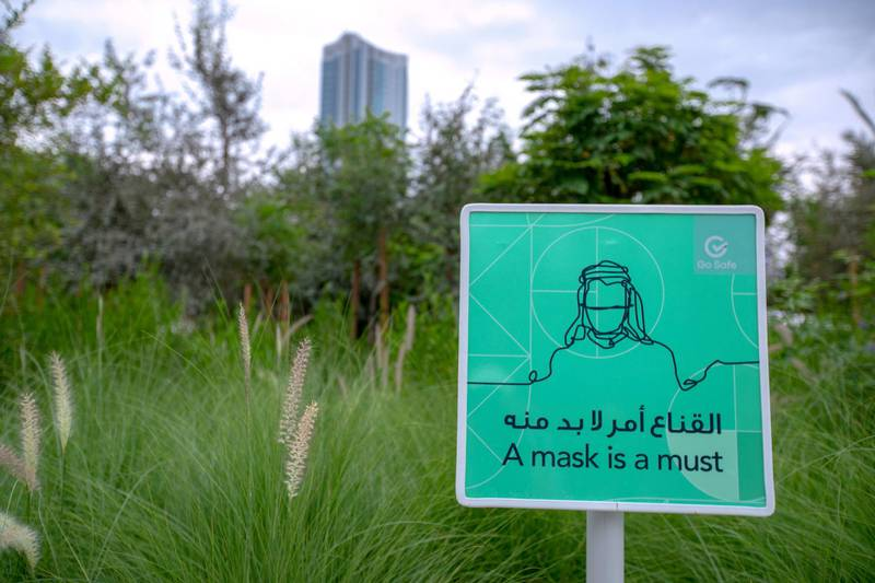Abu Dhabi, United Arab Emirates, April 28, 2021. Al Fay Park.It's the UAE's first urban biodiversity park. The 27,5000 m2 park is the first of its kind to focus on strengthening the region's biodiversity while using the increased planting and wildlife to enhance the local microclimate - it's up to 10C cooler there than outside!The architects behind it spent a year researching plants in the UAE before they chose what to use. Victor Besa / The National.Reprter:  Gillian Duncan for News