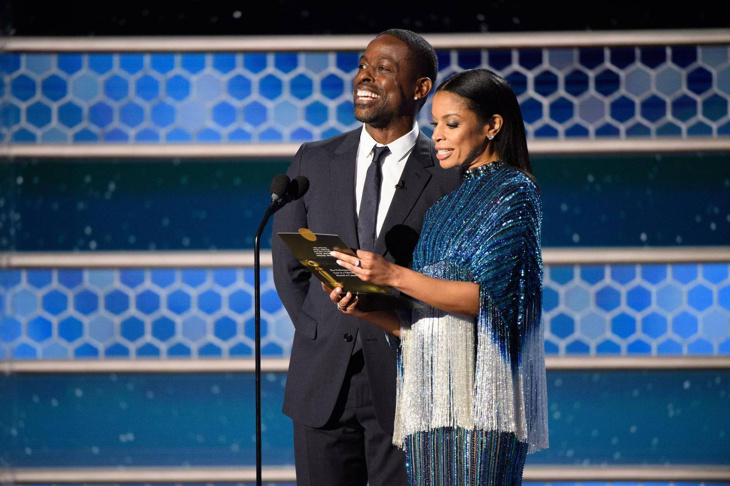 epa09044012 Handout image released by the Hollywood Foreign Press Association showing Sterling K. Brown and Susan Kelechi Watson present Best Television Series - Musical or Comedy during the 78th annual Golden Globe Awards ceremony at the Beverly Hilton Hotel, in Beverly Hills, California, USA, 28 February 2021.  EPA/HFPA / HANDOUT EDITORIAL USE ONLY, NO SALES