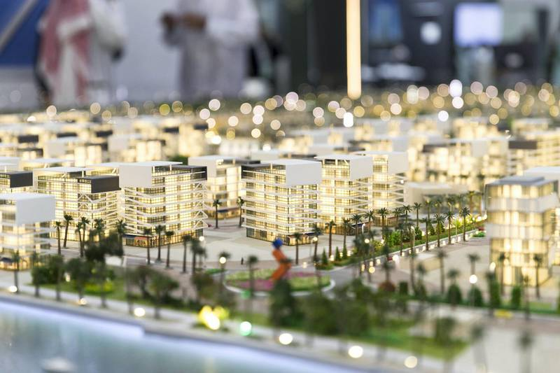 ABU DHABI, UNITED ARAB EMIRATES - April 16 2019.Wahat Yas model  at Cityscape Abu Dhabi 2019.(Photo by Reem Mohammed/The National)Reporter: Gillian DuncanSection: NA + BZ