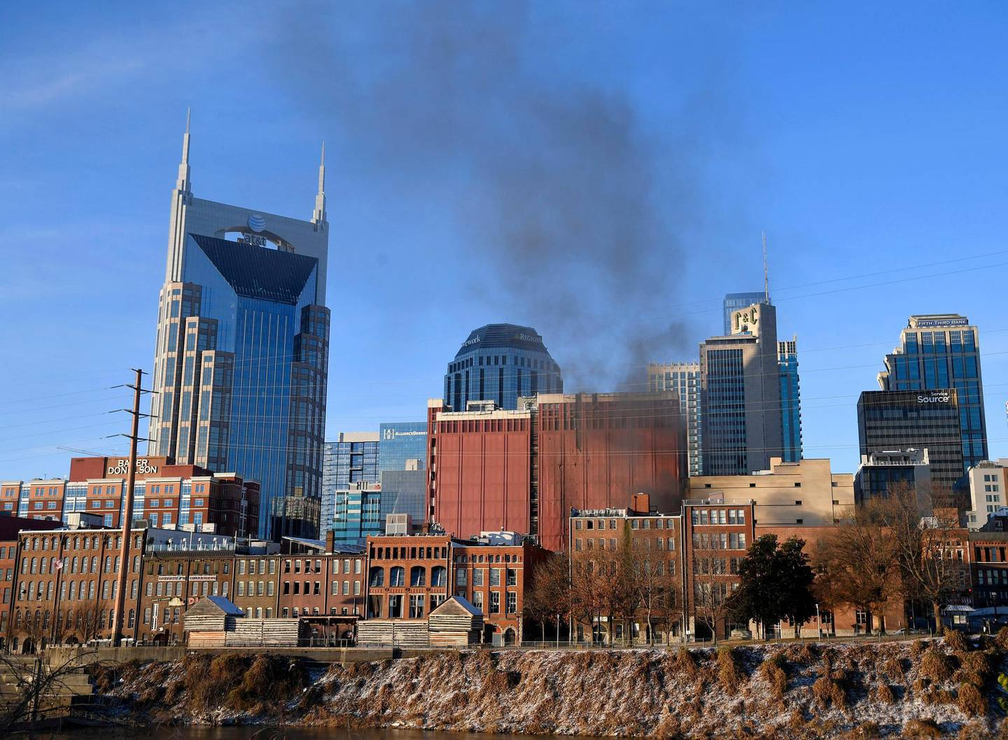 Smoke billows from the site of an explosion in the area of Second and Commerce in Nashville, Tennessee, U.S. December 25, 2020. Andrew Nelles/Tennessean.com/USA TODAY NETWORK via REUTERS.   NO RESALES. NO ARCHIVES