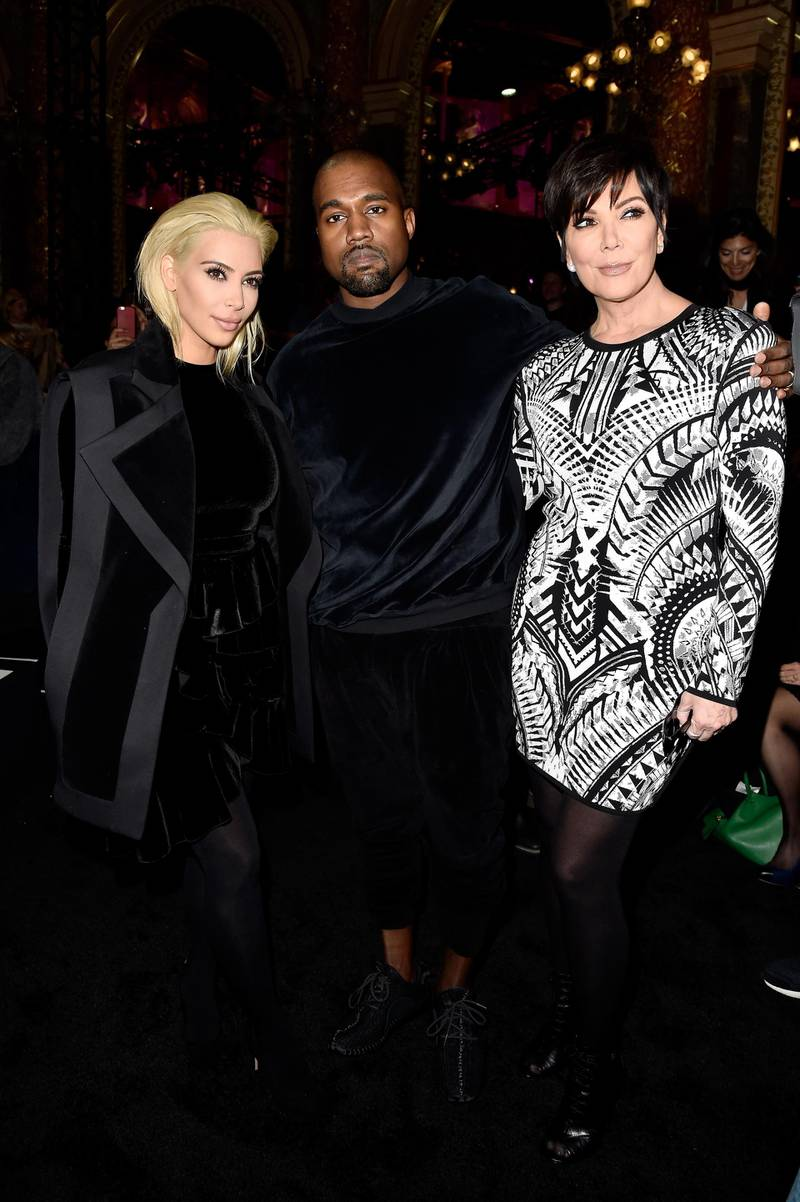 PARIS, FRANCE - MARCH 05:  Kim Kardashian, Kanye West and Kris Jenner attend the Balmain show as part of the Paris Fashion Week Womenswear Fall/Winter 2015/2016 on March 5, 2015 in Paris, France.  (Photo by Pascal Le Segretain/Getty Images)