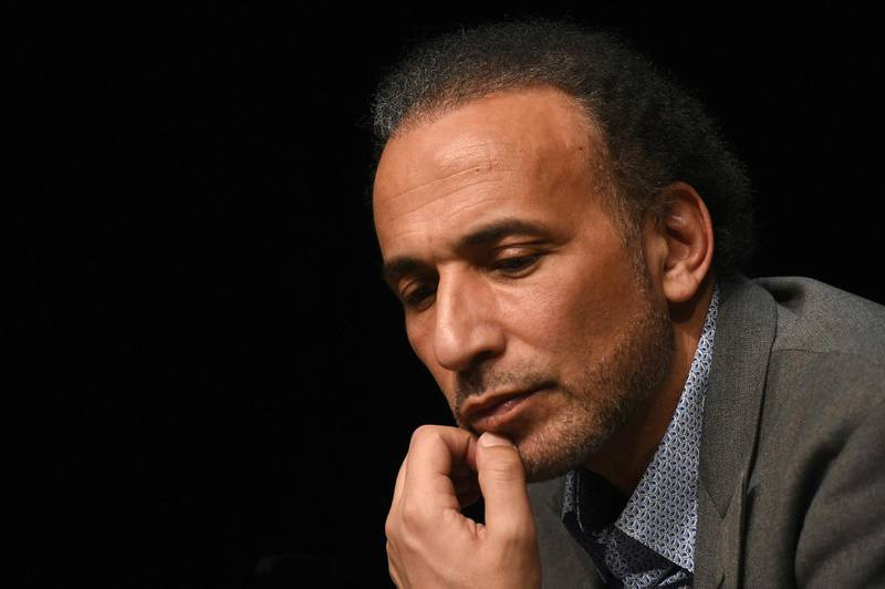 """(FILES) In this file photo taken on March 26, 2016 Swiss Islamologist Tariq Ramadan takes part in a conference on the theme """"Live together"""" in Bordeaux. The appeal of Tariq Ramadan will be examined on February 15, 2018 after he was remanded in custody on charges of rape. Two Muslim women have accused Ramadan, a 55-year-old Oxford University professor whose grandfather founded Egypt's Muslim Brotherhood movement, of rape.  / AFP PHOTO / MEHDI FEDOUACH"""