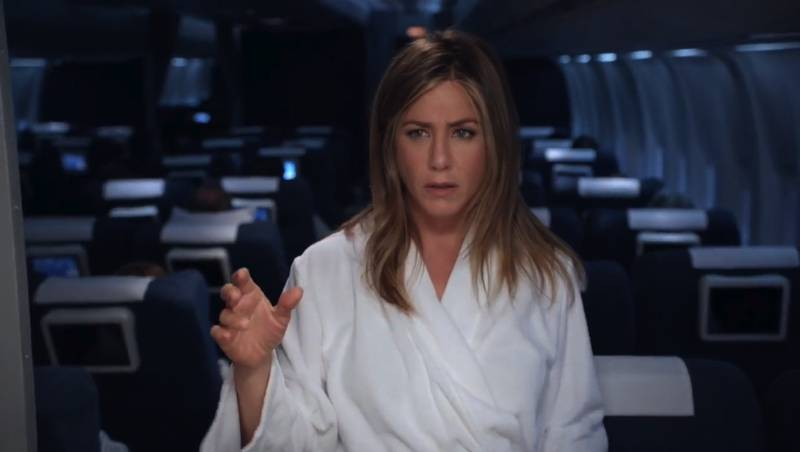 A screenshot showing Jennifer Aniston from the Emirates A380 featuring Jennifer Aniston video posted by Emiares on their Youtube channel *NO CREDITS* *** Local Caption ***  al06oc-emirates-aniston03.jpg
