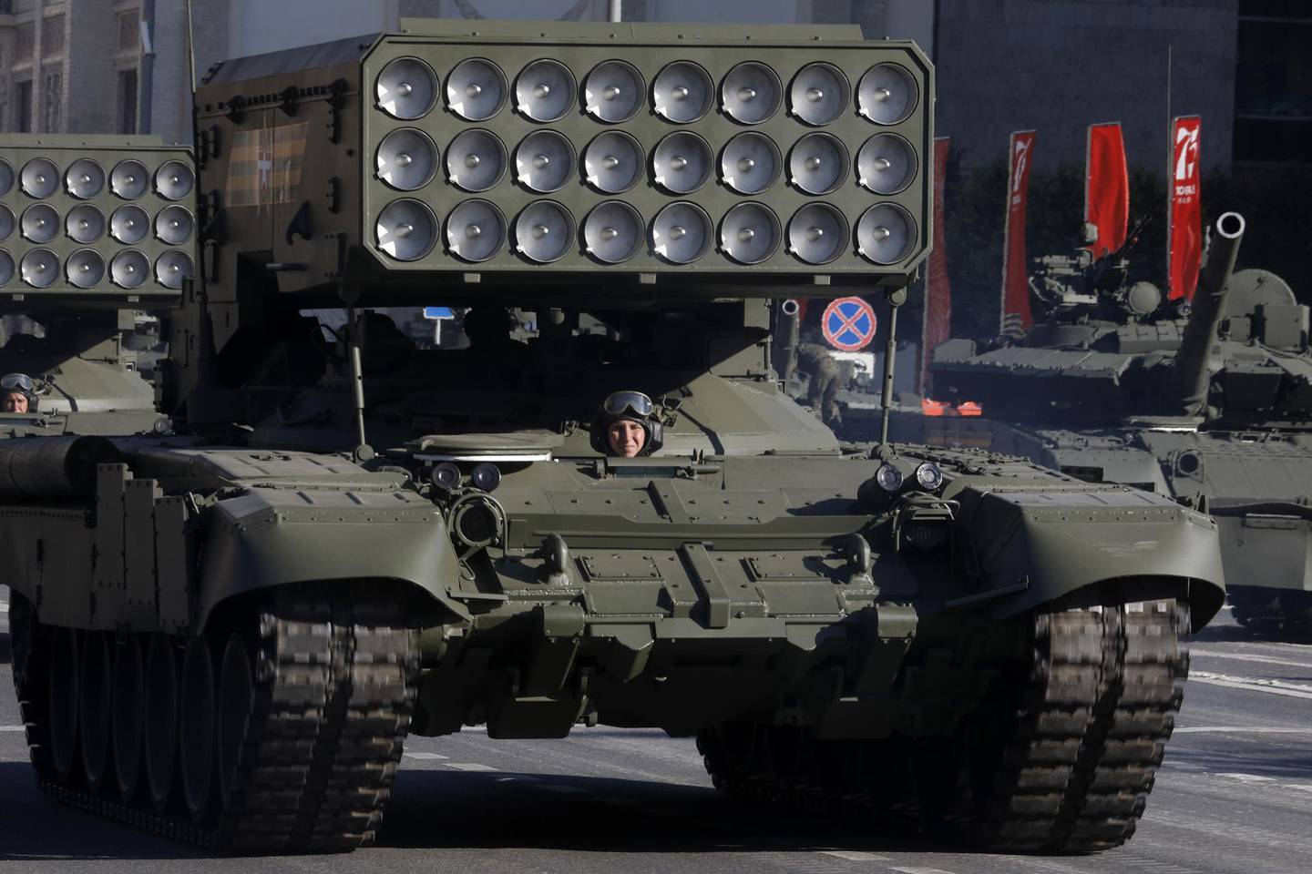 MOSCOW, RUSSIA - JUNE 24, 2020: A TOS-1A Buratino multiple rocket launcher moves along Tverskaya Street ahead of a Victory Day military parade in Red Square marking the 75th anniversary of the victory in World War II. Victory Day parades across Russia have been postponed from 9 May to 24 June due to restrictions imposed to prevent the spread of the novel coronavirus. Alexander Shcherbak/TASS (Photo by Alexander Shcherbak\TASS via Getty Images)