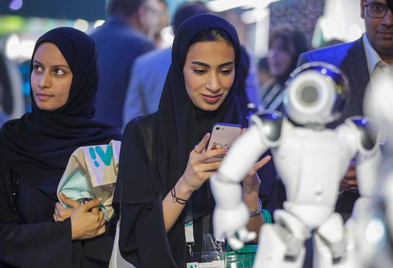 Dubai, April 30, 2019.  Ai Everything show at the Dubai World Trade Centre. --  The Ai robots of the show continuously amazed the visitors.Victor Besa/The NationalSection:  NAReporter:  P. Ryan and A. Sharma