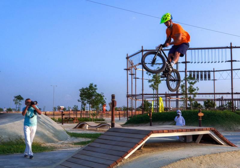Abu Dhabi, United Arab Emirates, November 8, 2020.   The new Hudayriyat Leisure and Entertainment District at Hudayriyat Island.  The Circuit X BMX park.Victor Besa/The NationalSection:  NAReporter:  Haneen Dajani