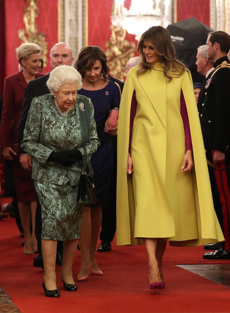 LONDON, ENGLAND - DECEMBER 03: Queen Elizabeth II and First Lady Melania Trump attend a reception for NATO leaders hosted by Queen Elizabeth II at Buckingham Palace on December 3, 2019 in London, England. Her Majesty Queen Elizabeth II hosted the reception at Buckingham Palace for NATO Leaders to mark 70 years of the NATO Alliance. (Photo by Yui Mok - WPA Pool/Getty Images)