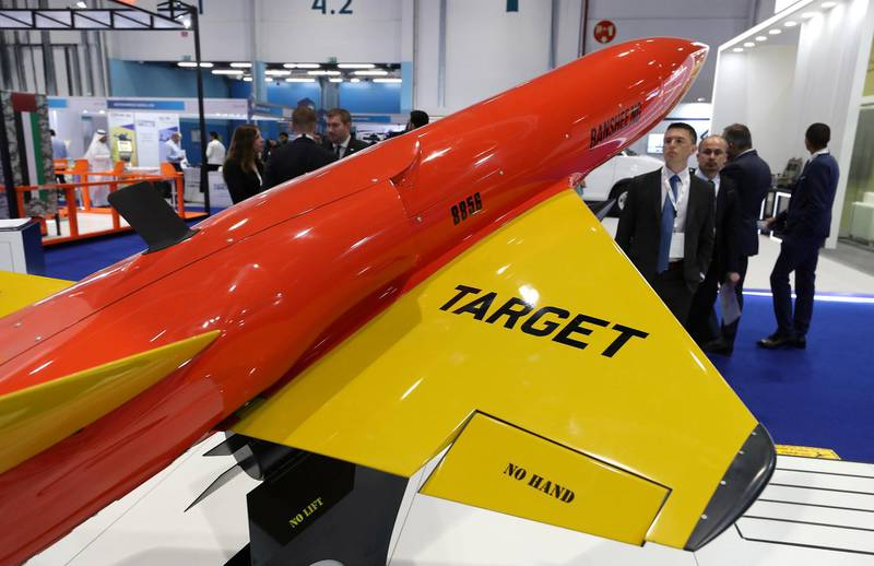 ABU DHABI, UNITED ARAB EMIRATES , Feb 23  – 2020 :- Banshee drone on display at the UMEX & SimTEX held at Abu Dhabi National Exhibitions Centre in Abu Dhabi. (Pawan  Singh / The National) For News/Online/Instagram.  Story by Kelsey Warner