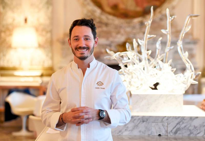 (FILES) In this file photo taken on October 25, 2017 Le Meurice's pastry chef Cedric Grolet poses during a photo session at the luxury five-star Le Meurice Hotel in Paris.  / AFP / STEPHANE DE SAKUTIN