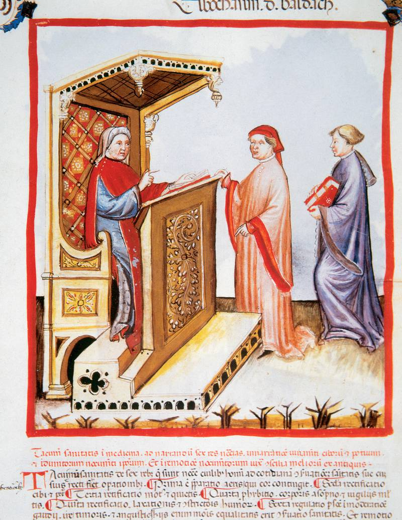 Tacuinum Sanitatis, Medieval Health Handbook, dated before 1400, based on observations of medical order detailing the most important aspects of food, beverages and clothing, Ibn Butlan (Elbochasim de Baldach) (d, 1038) with two pupils, Miniature, Folio 4r. (Photo by Prisma/UIG/Getty Images)