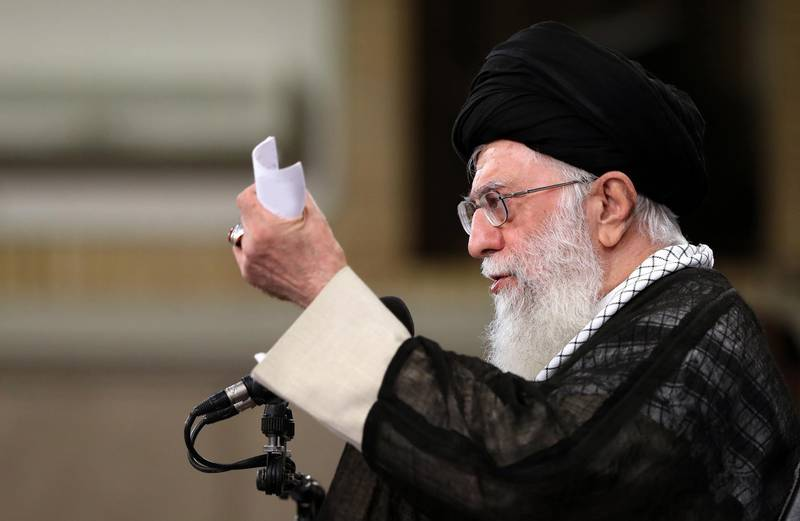 epa06758344 A handout photo made available by the supreme leader office shows, Iranian supreme leader Ali Khamenei speaking during a meeting with Iranian government on the occasion of Ramadan during ceremony in Tehran, Iran, 23 May 2018. Media reported that Khamenei as announced some conditions for following nuclear deal with European countries.  EPA/supreme leader office HANDOUT  HANDOUT EDITORIAL USE ONLY/NO SALES