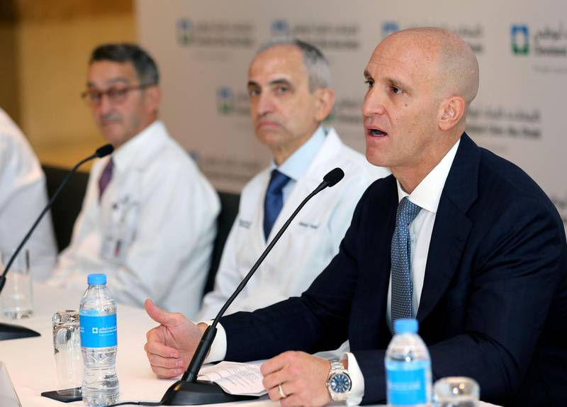 """Abu Dhabi, United Arab Emirates - February 20th, 2018: Dr Rakesh Suri, CEO, Cleveland Clinic Abu Dhabi. Press conference to celebrate the clinical milestone of the UAE's first transplants from deceased donors for all four major organs """"The Gift Of Life - Major Organ Transplants in The UAE"""". Tuesday, February 20th, 2018. Cleveland Clinic, Abu Dhabi. Chris Whiteoak / The National"""