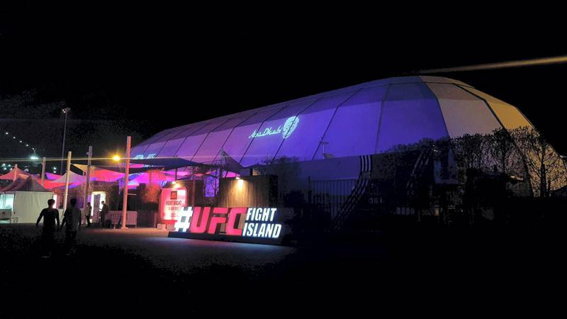A general view of the Flash Forum on UFC Fight Island prior to the UFC 251 event on Yas Island in Abu Dhabi. Erica Elkhershi / The National