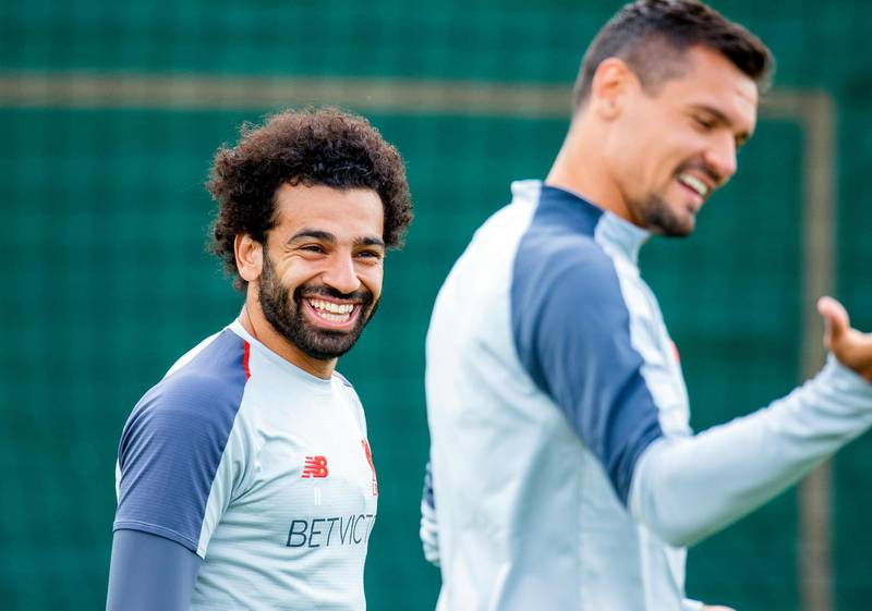 epa07607939 Liverpool players Mohamed Salah (L) and Dejan Lovren (R) attend their team's training session at Melwood training facility in Liverpool, Britain, 28 May 2019. Liverpool FC will face Tottenham Hotspur in the 2019 UEFA Champions League final at the Wanda Metropolitano stadium in Madrid, Spain, on 01 June 2019.  EPA/PETER POWELL