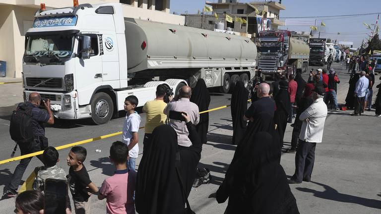 An image that illustrates this article Trucks carrying Iranian fuel arrive in Lebanon