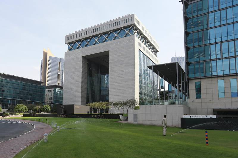 DUBAI, UAE. April 16, 2014 - Stock photograph of stock ticker in front of DIFC Gate in Dubai, April 16, 2014. (Photos by: Sarah Dea/The National, Story by: Lianne Gutcher, Business)