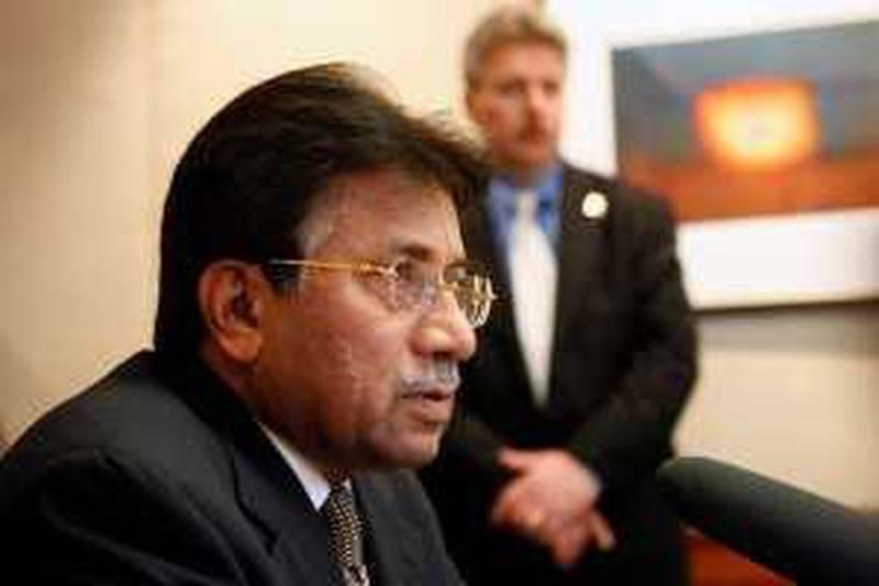 Former Pakistani President Pervez Musharraf speaks at a news conference Monday, March 15, 2010, in Portland, Ore.. (AP Photo/Rick Bowmer) *** Local Caption ***  PD104_Musharraf_Visit.jpg