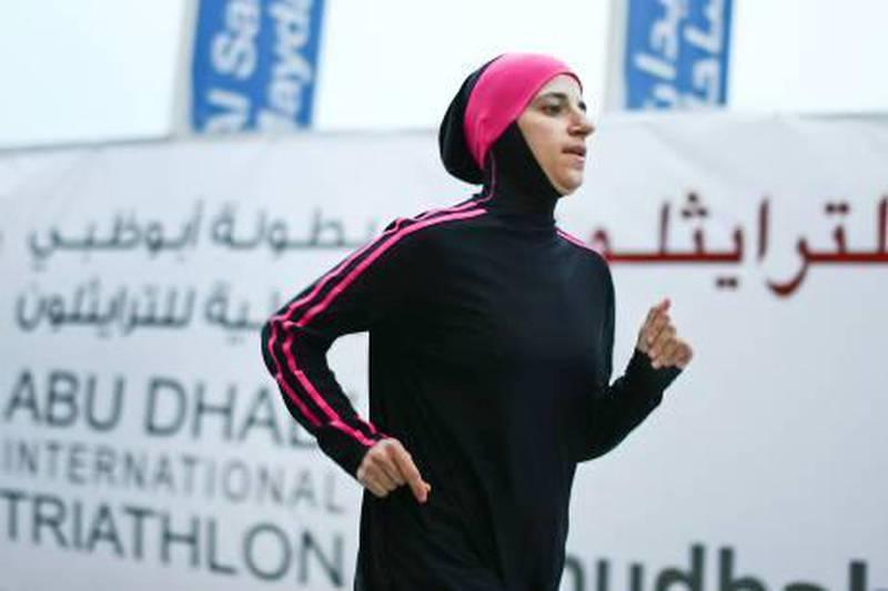Abu Dhabi,  United Arab Emirates ---  March 8, 2011  ---  Haifaa Kattan, an Emirati, will be competing in the upcoming Abu Dhabi Triathlon.   ( DELORES JOHNSON / The National )
