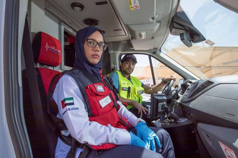 Dubai United Arab Emirates- Advance Paramedic Ayesha Alblooshi, Emirati and First Responder Marwan Naser Ali Almansoori, Yemeni at the Dubai Corporation for Ambulance Services for unsung heroes story.  Leslie Pableo for The National