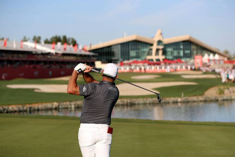 Abu Dhabi, United Arab Emirates - Reporter: Paul Radley and John McAuley: Lee Westwood plays a shot on the 18th hole on the 4th and final day of the Abu Dhabi HSBC Championships. Sunday, January 19th, 2020. Abu Dhabi Golf Club, Abu Dhabi. Chris Whiteoak / The National