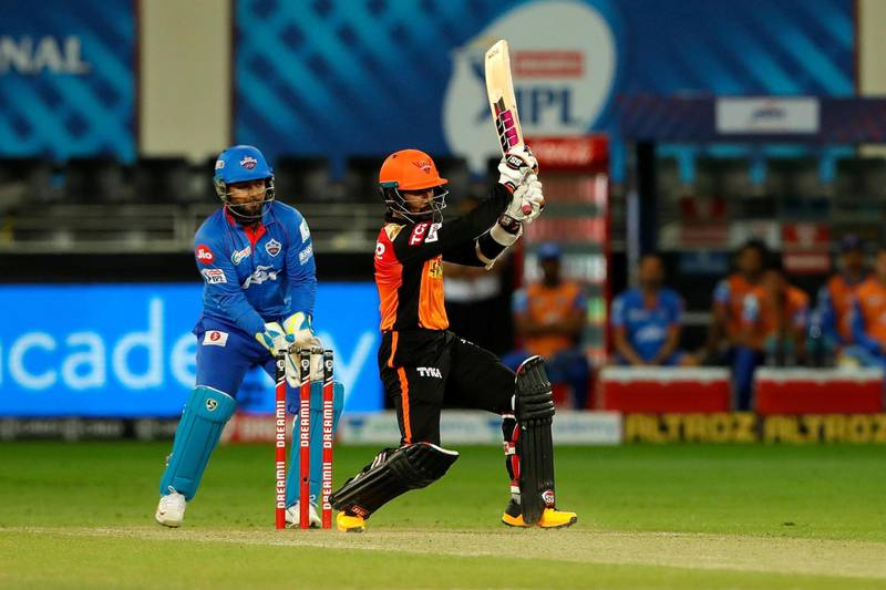 Wriddhiman Saha of Sunrisers Hyderabad batting during match 47 of season 13 of the Dream 11 Indian Premier League (IPL) between the Sunrisers Hyderabad and the Delhi Capitals held at the Dubai International Cricket Stadium, Dubai in the United Arab Emirates on the 27th October 2020.  Photo by: Saikat Das  / Sportzpics for BCCI