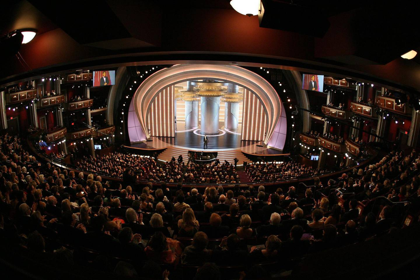 (FILES) In this file photo taken on February 24, 2008 General view of the 80th Annual Academy Awards held at the Kodak Theatre on February 24, 2008 in Hollywood, California during the 80th Annual Academy Awards at the Kodak Theater in Hollywood, California. The 93rd Oscars have been postponed by eight weeks to April 25 after the coronavirus pandemic shuttered movie theaters and wreaked havoc on Hollywood's release calendar, the Academy said June 15, 2020. / AFP / Gabriel BOUYS