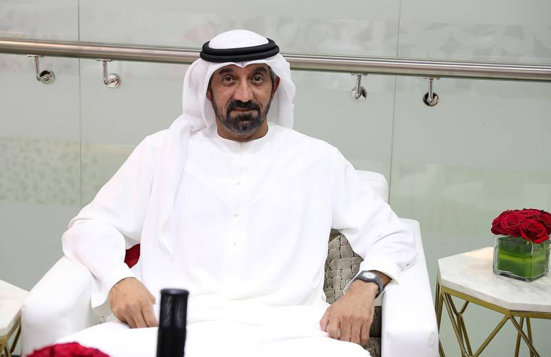 Sheikh Ahmed bin Saeed Al Maktoum, President of the Dubai Civil Aviation Authority, CEO and founder of the Emirates Group, chairman of Dubai World during the roundtable at the Arabian Travel Market held at Dubai World Trade Centre in Dubai on May 17,2021. Pawan Singh / The National. Story by Deena