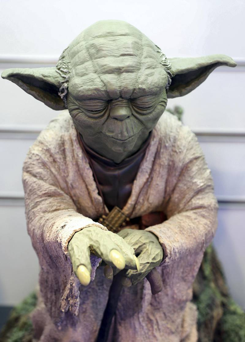 Dubai, United Arab Emirates - May 26, 2019: Photo Project. Yoda from Star wars figurine. Comicave is the WorldÕs largest pop culture superstore involved in the retail and distribution of high-end collectibles, pop-culture merchandise, apparels, novelty items, and likes. Thursday the 30th of May 2019. Dubai Outlet Mall, Dubai. Chris Whiteoak / The National