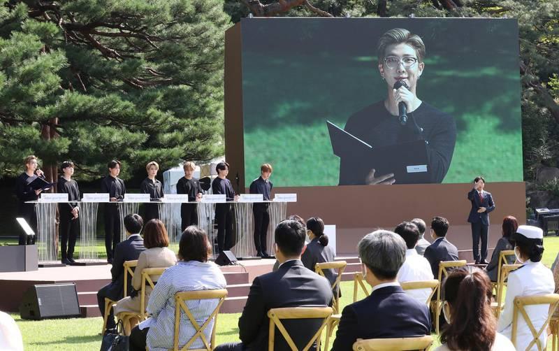South Korean K-Pop group BTS member RM speaks during a ceremony marking the National Youth Day at the presidential Blue House in Seoul, South Korea, Saturday, Sept. 19, 2020. (Lee Jin-wook/Yonhap via AP)