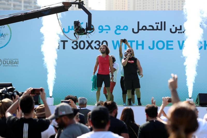 Dubai, United Arab Emirates - October 26, 2019: HIIT 30X30 with Joe Wicks. Guinness World Record attempt for the largest HIIT class. Saturday the 26th of October 2019. Skydive Dubai, Dubai. Chris Whiteoak / The National