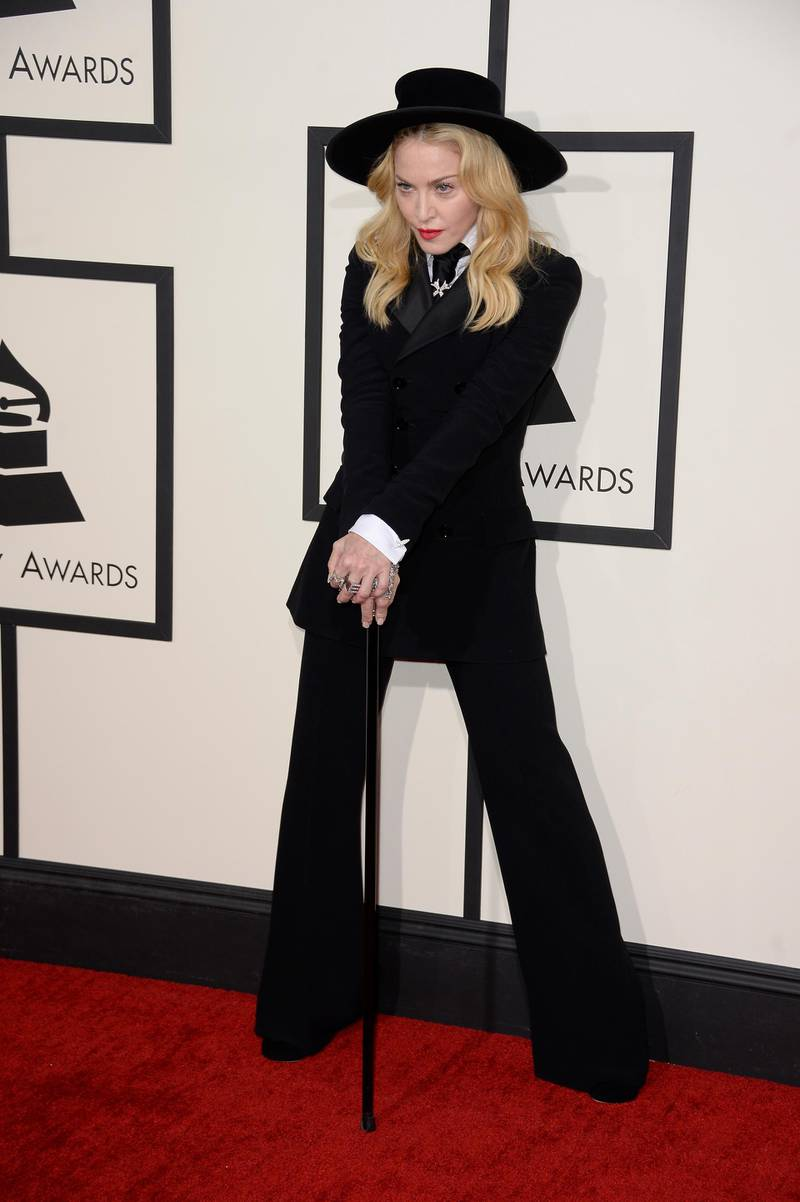 epa04043629 US singer and actress Madonna arrives for the 56th annual Grammy Awards held at the Staples Center in Los Angeles, California, USA, 26 January 2014.  EPA/MICHAEL NELSON