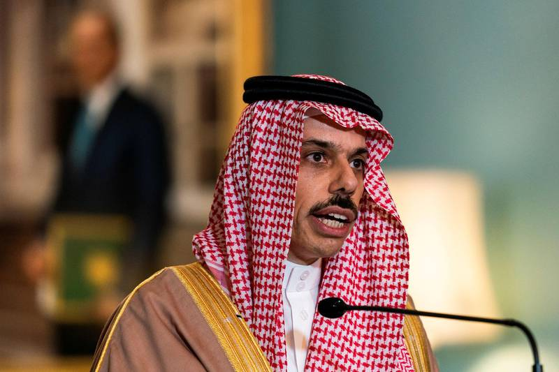 FILE PHOTO: Saudi Minister of Foreign Affairs Prince Faisal bin Farhan Al Saud speaks during his meeting with U.S. Secretary of State Mike Pompeo, at the State Department, in Washington, U.S., October 14, 2020. Manuel Balce Ceneta/Pool via REUTERS/File Photo