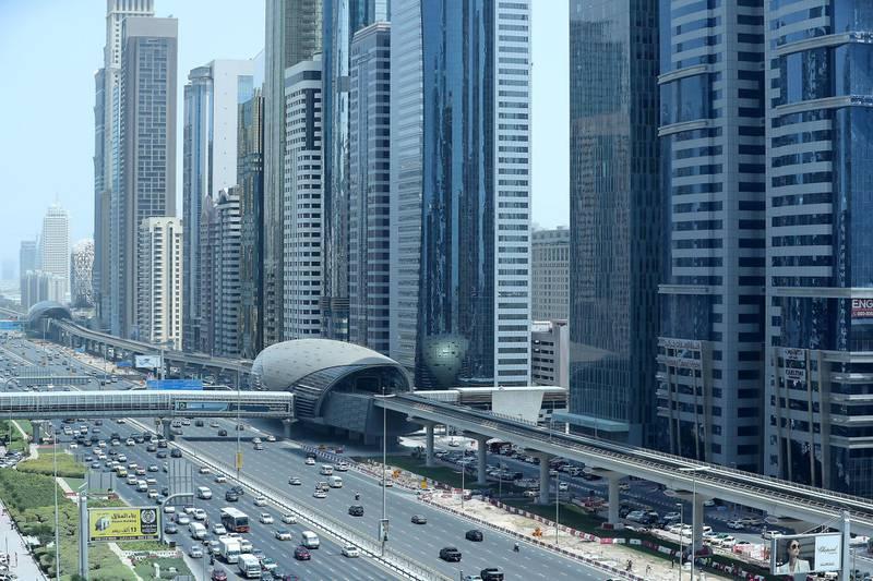 DUBAI ,  UNITED ARAB EMIRATES , SEPTEMBER 3 – 2019 :- Traffic on Sheikh Zayed Road in Dubai. ( Pawan Singh / The National ) For Stock