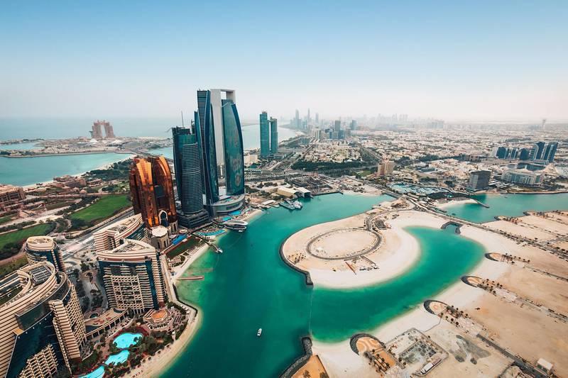Aerial view of Abu Dhabi, UAE. Courtesy Department of Culture and Tourism – Abu Dhabi (DCT Abu Dhabi)
