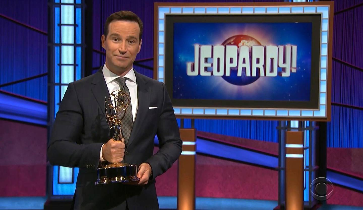"""In this video image provided by NATAS and the Daytime Emmys, executive producer Mike Richards accepts the award for outstanding game show for """"Jeopardy!"""" during the 48th Daytime Emmy Awards on Friday, June 25, 2021. (NATAS/Daytime Emmys via AP)"""