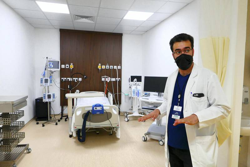 Doctor Mohammad Nour Al Saeed showing the SEHA ICU Center at Dubai Parks and Resorts in Dubai on April 26,2021. (Pawan Singh/The National). Story by Nick Webster