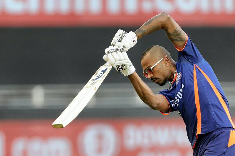Hardik Pandya of Mumbai Indians at practise sessions  during match 36 of season 13 of the Dream 11 Indian Premier League (IPL) between the Mumbai Indians and the Kings XI Punjab held at the Dubai International Cricket Stadium, Dubai in the United Arab Emirates on the 18th October 2020.  Photo by: Saikat Das  / Sportzpics for BCCI