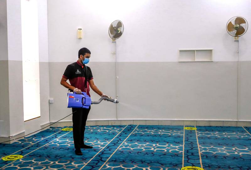 Abu Dhabi, United Arab Emirates, July 20, 2020.     A prayer room is sanitised at the Al Wahda Mall on the first day of reopening as Covid-19 restrictions ease.Victor Besa  / The NationalSection: NAFor:  Standalone / Stock